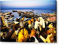 Varanasi Dawn Acrylic Print by Money Sharma