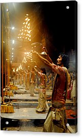 Varanasi's Ganga Aarti Acrylic Print by Money Sharma