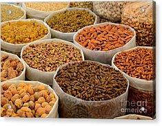Variety Of Raw Nuts For Sale At Outdoor Street Market Karachi Pakistan Acrylic Print