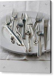 Various Forks On A Plate Acrylic Print