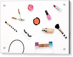 various makeup products and cosmetics in white background.Top view Acrylic Print by Carol Yepes