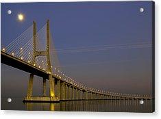 Vasco Da Gama Bridge In The Moonlight Acrylic Print