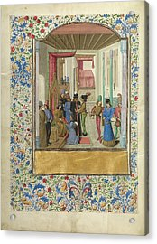 Vasco Da Lucena Giving His Work To Charles The Bold Master Acrylic Print by Litz Collection