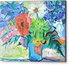 Vase Of Flowers Acrylic Print by Brenda Ruark