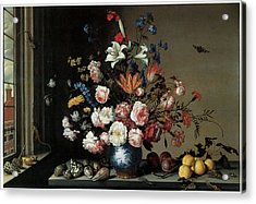 Vase Of Flowers By A Window Acrylic Print by Balthasar Van Der Ast
