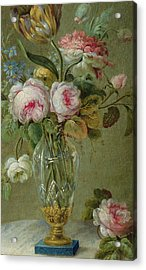 Vase Of Flowers On A Table Acrylic Print by Michel Bellange