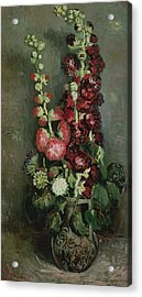 Vase Of Hollyhocks Acrylic Print by Vincent van Gogh