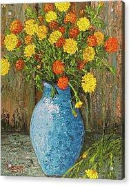 Vase Of Marigolds Acrylic Print