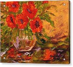 Vase Of Poppies Acrylic Print by Barbara Pirkle