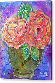 Vase Of Rises Acrylic Print by Dion Dior