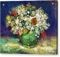 Vase With Zinnias After Van Gogh Acrylic Print by Dragica  Micki Fortuna