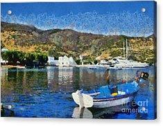 Vathi Beach In Sifnos Island Acrylic Print by George Atsametakis