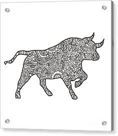 Vector Boho Bull For  Coloring Book For Acrylic Print