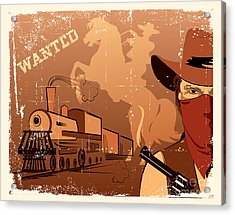 Vector Cowboy And Train. Western Grunge Acrylic Print