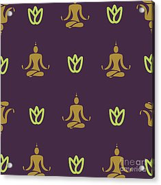 Vector Design Yoga Pose Pattern Acrylic Print