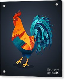 Vector Illustration Bright Rooster On A Acrylic Print