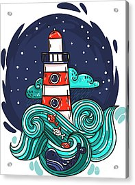 Vector Illustration Lighthouse In Storm Acrylic Print