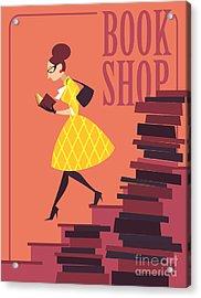 Vector Illustration Of Bookstore, Books Acrylic Print