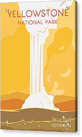 Vector Retro Poster. Yellowstone Acrylic Print by Red Monkey
