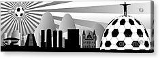 vector Rio skyline with ball Acrylic Print by Michal Boubin