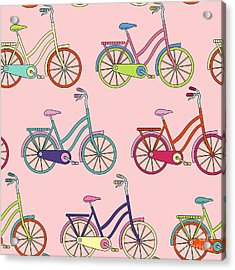 Vector Seamless Pattern With Bicycle Acrylic Print by Maria galybina
