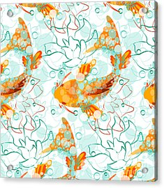 Vector Seamless Pattern With Koi Fish Acrylic Print