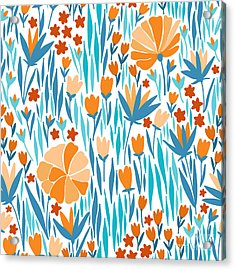 Vector Seamless Pattern With Summer Acrylic Print