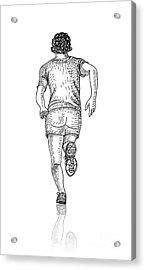 Vector Sketch Of Man Runs Into The Acrylic Print