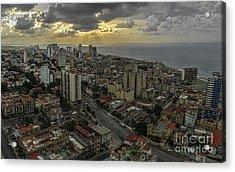 Vedado Havana City Sunset Acrylic Print