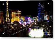 Vegas At Night Acrylic Print by Barbara Chichester