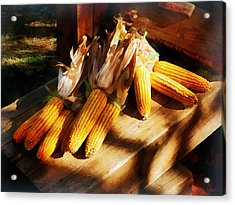 Vegetable - Corn On The Cob At Outdoor Market Acrylic Print by Susan Savad