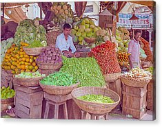 Vegetable Seller In Indian Market Acrylic Print