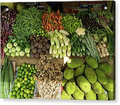 Vegetables For Sale On Main Street Acrylic Print by Panoramic Images
