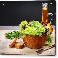 Vegetarian Salad And Olive Oil Acrylic Print by Anna Om