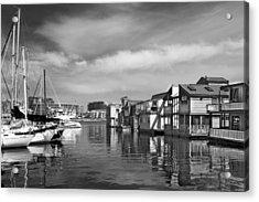 Veiw Of Marina In Victoria British Columbia Black And White Acrylic Print