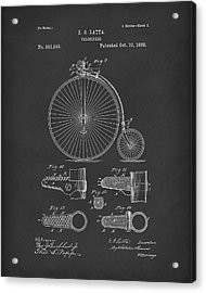 Velocipede Latta 1888 Patent Art Black Acrylic Print by Prior Art Design