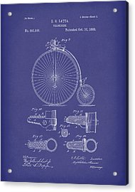 Velocipede Latta 1888 Patent Art Blue Acrylic Print by Prior Art Design