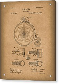 Velocipede Latta 1888 Patent Art Brown Acrylic Print by Prior Art Design