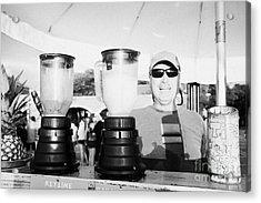 Vendor Selling Fresh Fruit Drinks Slushies At Mallory Square Key West Florida Usa Acrylic Print by Joe Fox