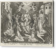 Veneration Of Mary With The Christ Child With St Acrylic Print by Rapha?l Sadeler (i)
