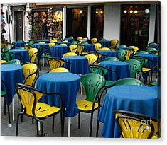 Acrylic Print featuring the photograph Venetian Cafe by Robin Maria Pedrero