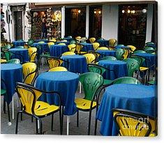 Venetian Cafe Acrylic Print by Robin Maria Pedrero