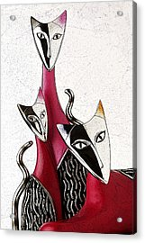 Acrylic Print featuring the drawing Venetian Cats by Selke Boris