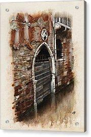 Acrylic Print featuring the painting Venetian Door 03 Elena Yakubovich by Elena Yakubovich