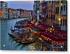 Venetian Grand Canal At Dusk Acrylic Print by David Smith