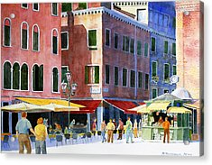 Acrylic Print featuring the painting Venetian Piazza by Roger Rockefeller