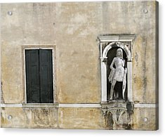 Venetian Statue And Doors On Beige And Black Acrylic Print by Brooke T Ryan