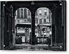 Venetian Street Black And White Acrylic Print by Design Remix
