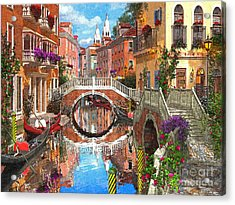 Venetian Waterway Acrylic Print by Dominic Davison
