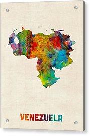 Venezuela Watercolor Map Acrylic Print by Michael Tompsett